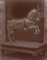 Silver and gold-plated vahana in the form of a horse in the Kumbheshvara Temple, Kumbakonam